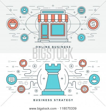 Flat line Online Business and Strategy. Vector illustration. Modern thin linear stroke vector icons.