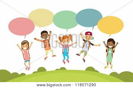 Children Happy Smile Group Jump Colorful Chat Box Park