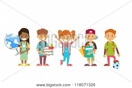 School Children Group Holding Globe, Books, Copybooks