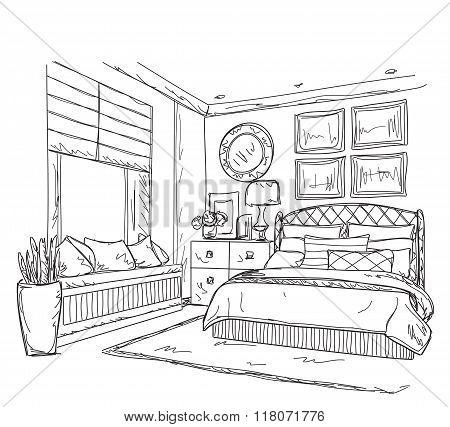 Bedroom modern interior drawing