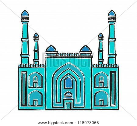 Blue mosque vector illustration