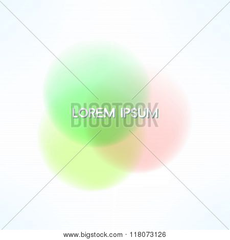 Vector overlapping circles in watercolor style. Bright and gentle banner design element