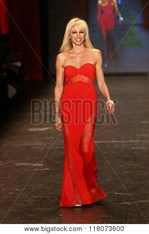 NEW YORK-FEB 11: Debbie Gibson wears Jay Godfrey at Go Red for Women Red Dress Collection 2016 Presented by Macy's at New York Fashion Week at Moynihan Station on February 11, 2016 in New York City.