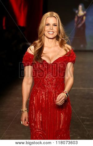 NEW YORK-FEB 11: Mary Alice Stephenson wears Naeem Khan at Go Red for Women Red Dress Collection 2016 Presented by Macy's at New York Fashion Week on February 11, 2016 in New York City.