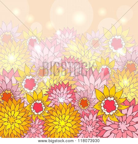 Floral background with hand-drawn flowers. Hand drawn picture