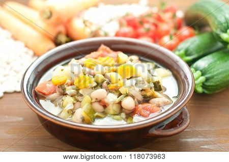Vegetable Soup, Typical Italian Soup With Tomatoes, Zucchini, Potatoes And Beans