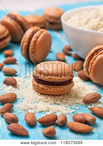 Macaroon With Chocolate Ganache And Almond Flour