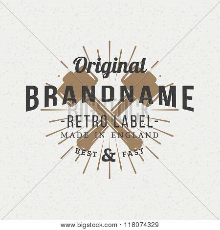 Crossed Sledgehammers. Vintage Retro Design Elements For Logotype, Insignia, Badge, Label. Business