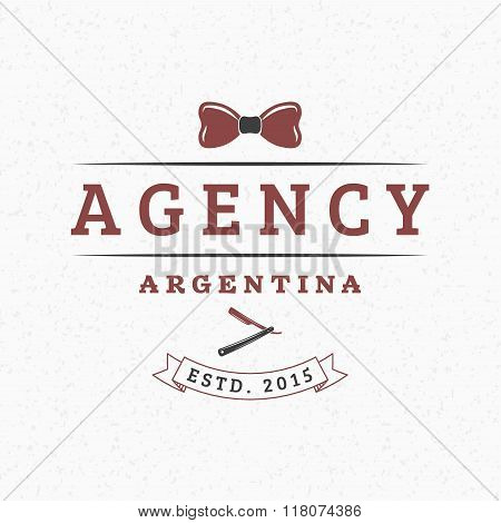 Hipster Bow-tie And Straight Razor. Vintage Retro Design Elements For Logotype, Insignia, Badge, Lab