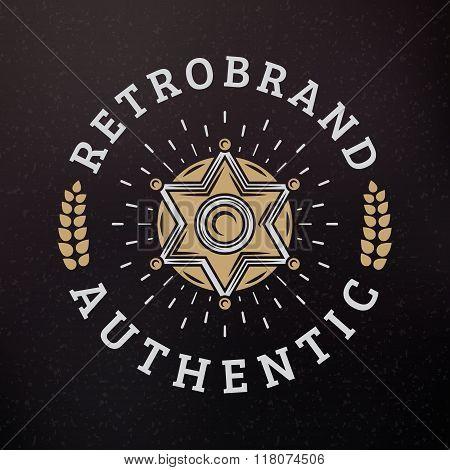 Sheriff Badge. Vintage Retro Design Elements For Logotype, Insignia, Badge, Label. Business Sign Tem
