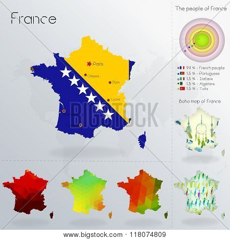 Modern Geometric And Political Map Of France. Bosnians Immigration To France.  Bosnians Diaspora In