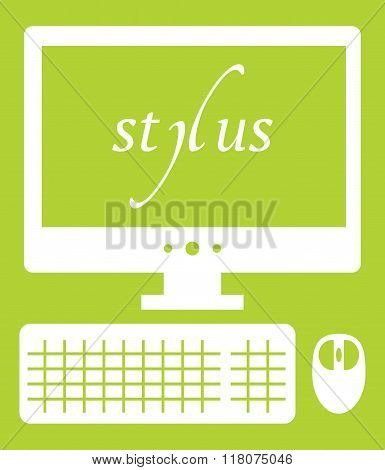 Vector illustration of web development stylus technology. isolated white icon