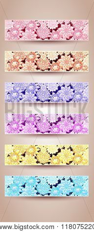 Set of floral background with hand-drawn flowers.