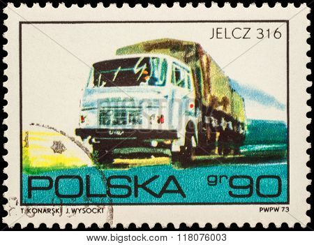 Truck Jelcz 316 On Postage Stamp