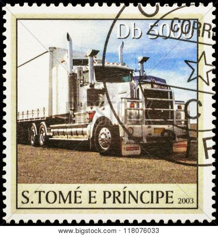 Big White Truck On Postage Stamp