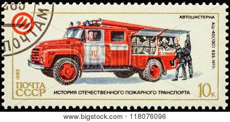 Fire Truck On Postage Stamp
