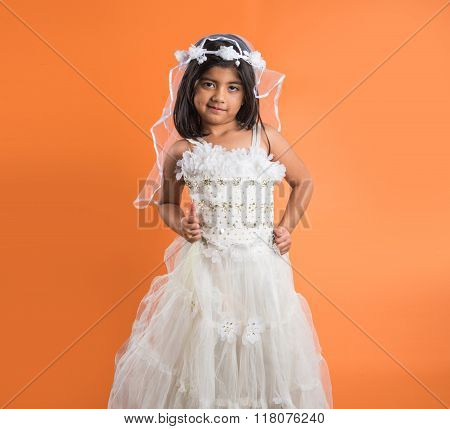 4 year old indian girl in party wear, indian girl in white birthday gown, birthday dress and small a