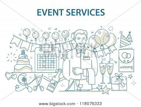 Doodle style design concept of special event and happy birthday party organization, catering service