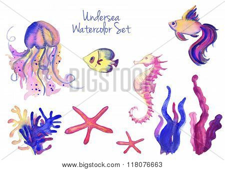 Beautiful watercolor vibrant set of underwater life