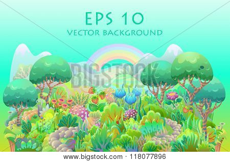 Fairytale forest vector illustration