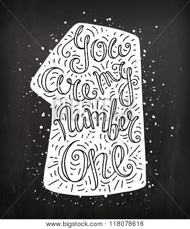 Doodle Typography Poster With Number One And Dots