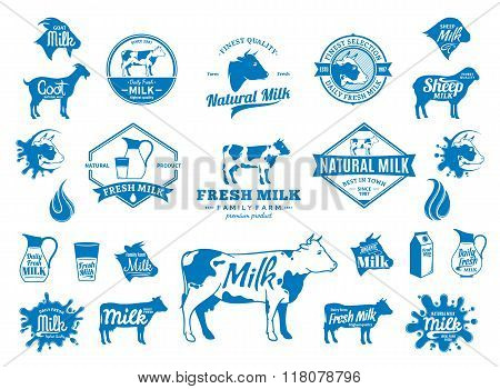 Milk Logo, Icons And Design Elements