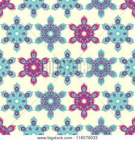 Snowflake mandala seamless pattern