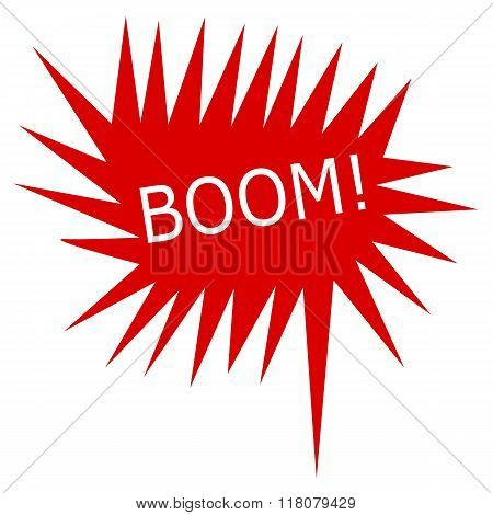Boom White Stamp Text On Red Speech Bubble
