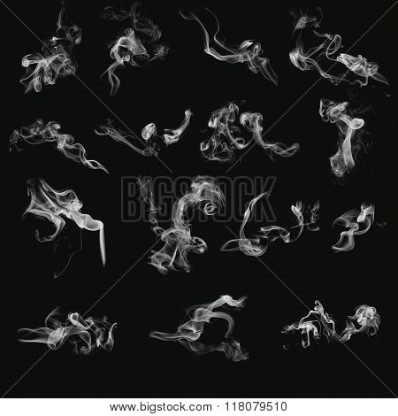 a set of different forms of smoke without background