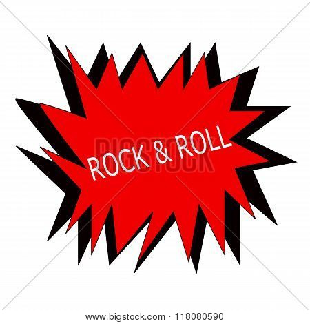 Rock And Roll White Stamp Text On Red Blast