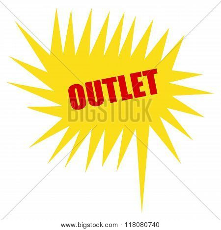 Outlet Red Stamp Text On Yellow Speech Bubble