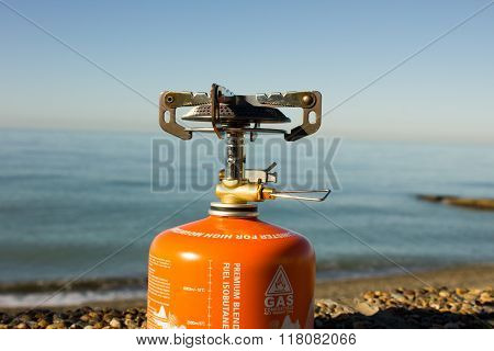 portable gas burner on the beach