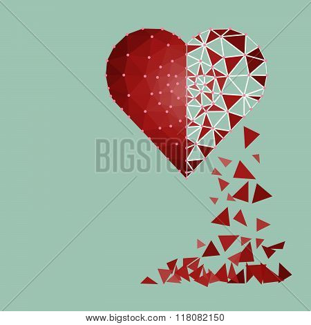 Low Polygonal Of Red Heart That Crushed To A Pieces In A Half Fall To Floor