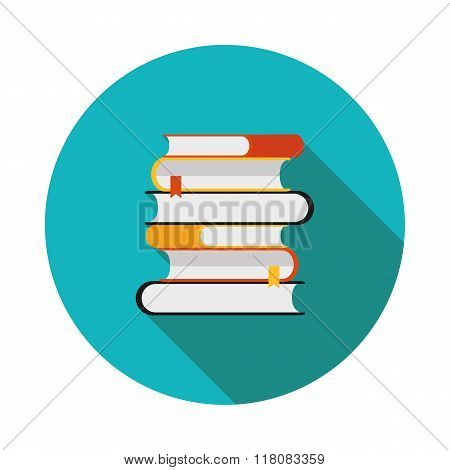 Flat Icon Is A Stack Of Books