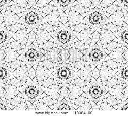 Complicated vector seamless black and white background texture.