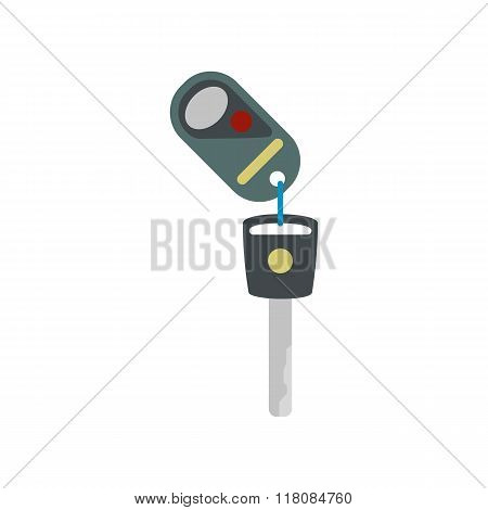 Key with remote control flat icon