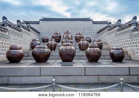 Jars Or Kimchi Jars In South Korea.