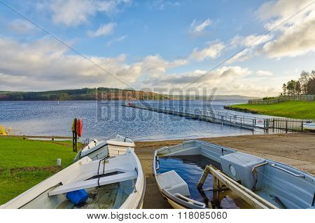 Boats beside Kielder Water