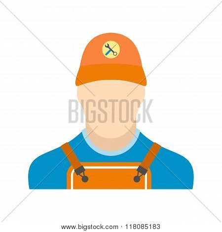 Auto mechanic avatar flat icon