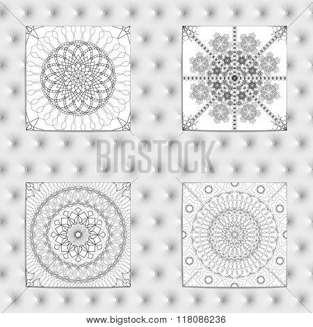 Set of 4 Abstract patterns. Black and white seamless vector backgrounds textures.