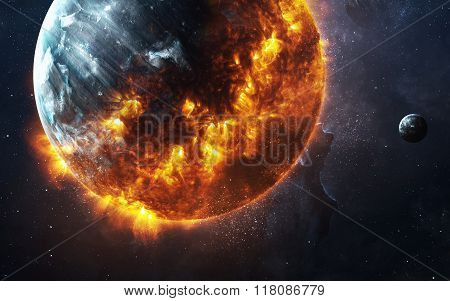 Abstract apocalyptic background - burning and exploding planet . This image elements furnished by NA