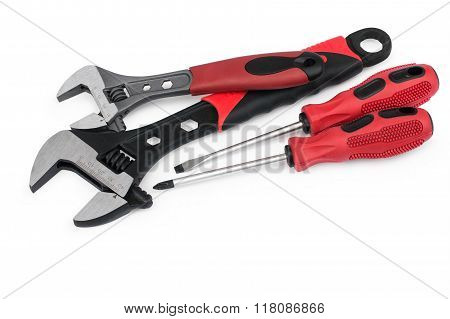 Red Adjustable Wrenches And Screwdrivers