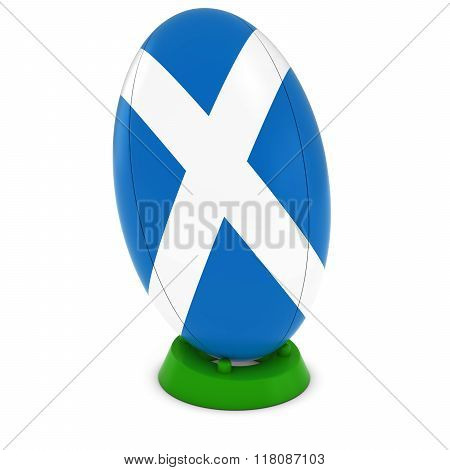 Scotland Rugby - Scottish Flag On Standing Rugby Ball