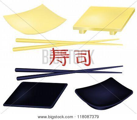 Sushi plates and chopsticks set