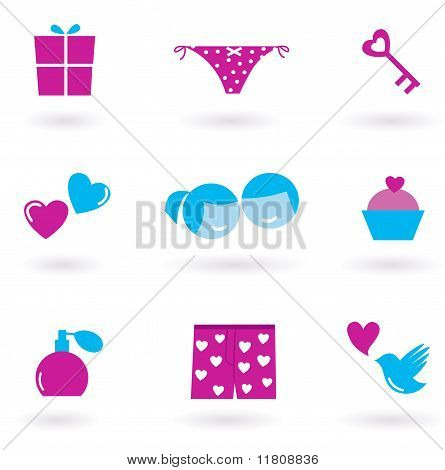 Collection of Love and Valentine's day icons and symbols - pink