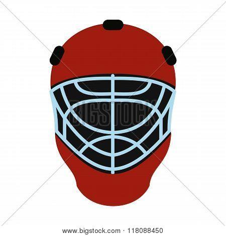 Goalkeeper hockey helmet flat icon