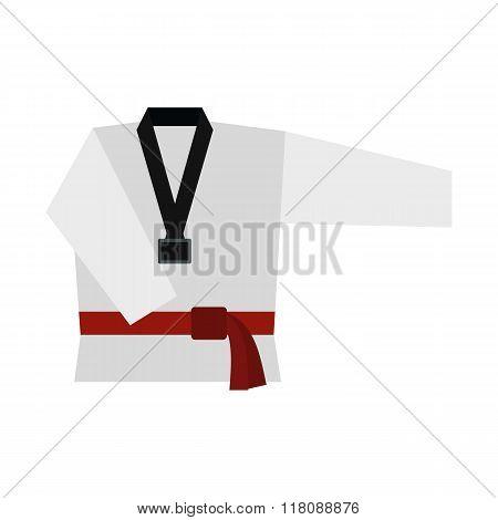 Kimono and martial arts red belt flat icon