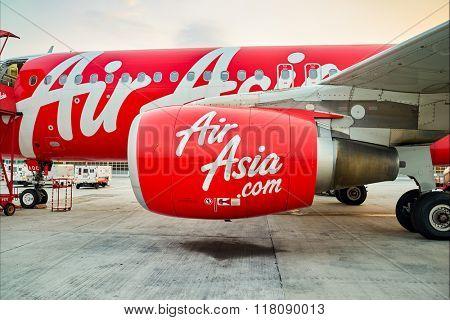 KUALA LUMPUR, MALAYSIA - MAY 02, 2014: close up shot of AirAsia aircraft engine. AirAsia Berhad is a Malaysian low-cost airline headquartered near Kuala Lumpur, Malaysia