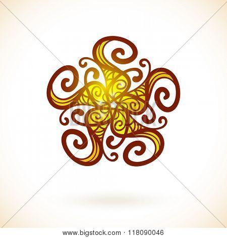 Geometric pentagonal design element, Ornamental yellow mandala