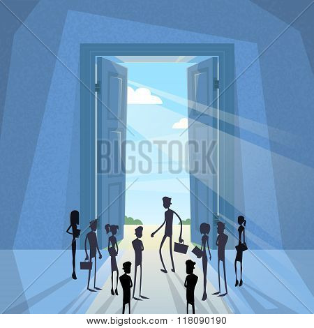 Business People Group Black Silhouette Standing at Door Entrance